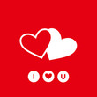 Happy Valentines Day card vector illustration background two heart on red background love icon. i love you