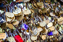 Padlocks Symbols Of Love Hanging On A Fence