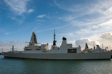 HMS Dragon (D35) Is A Royal Navy Type 45 Destroyer, Moored In Portsmouth, UK