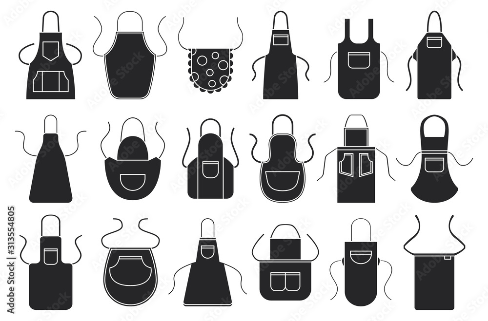 Fototapeta Kitchen apron vector black icon set. Isolated black set cook uniform.Vector illustration icon kitchen apron on white background .