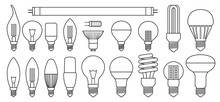 Halogen Bulb Line Vector Set Icon. Illustration Of Isolated Line Icon Halogen Of Light Lamp. Isolated Set Electric And Fluorescent Bulb.