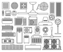 Air Ventilator Line Vector Set Icon.Vector Illustration Icon Of Ventilator Equipment.Isolated Line Set Of Air Fan System.