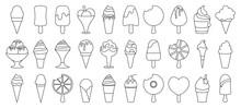 Ice Cream Line Vector Set Icon...