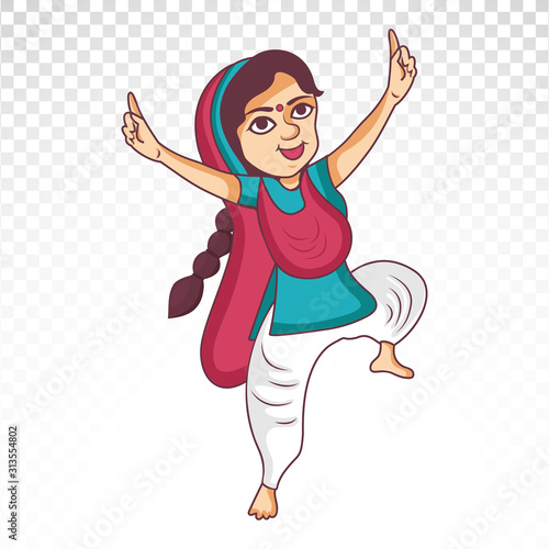 vector illustration of Punjabi female cartoon  character dancing bhangra Fototapeta