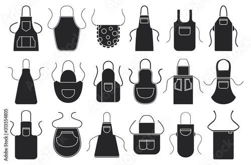 Slika na platnu Kitchen apron vector black icon set