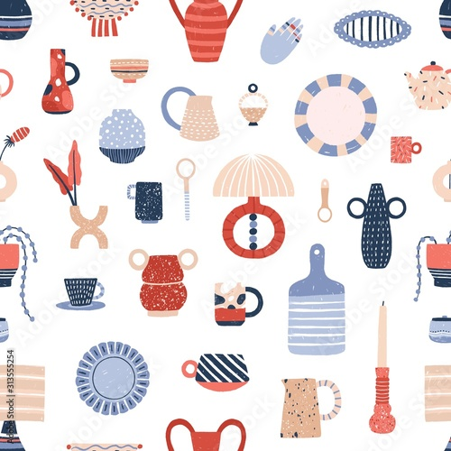 Tapeta do kuchni  ceramic-tableware-flat-vector-seamless-pattern-stylish-handcrafted-pottery-texture-modern-decorative-kitchen-accessories-illustrations-creative-fabric-wallpaper-wrapping-paper-design