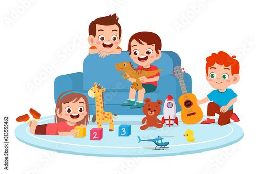 Fotografia, Obraz happy cute kids boy and girl play together