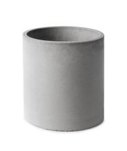 Round Pot Of Concrete Isolated