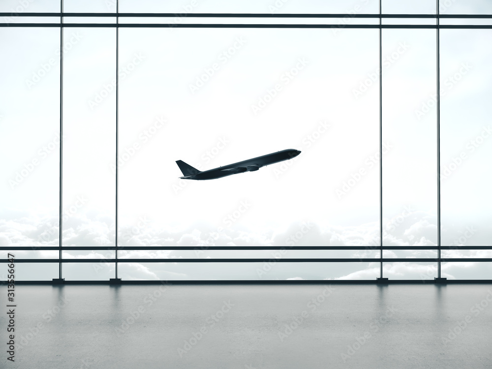 Fototapeta Big airport waiting area interior and windows with landscape view