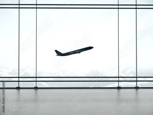 Obraz Big airport waiting area interior and windows with landscape view - fototapety do salonu