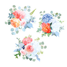 Dusty Blue, Orange, White, Coral, Pink Flowers Vector Wedding Bouquets