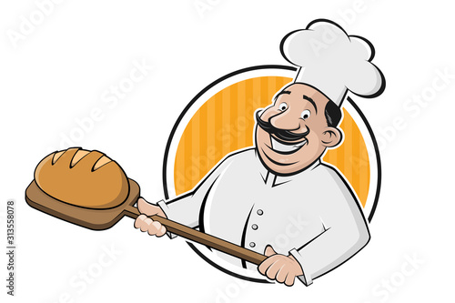 Fotografia, Obraz funny cartoon sign of a baker holding a delicious bread