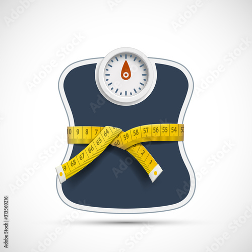 Weighing scales with measuring tape. Weight loss concept Obraz na płótnie