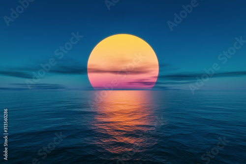 Obraz great sunset over the ocean - fototapety do salonu