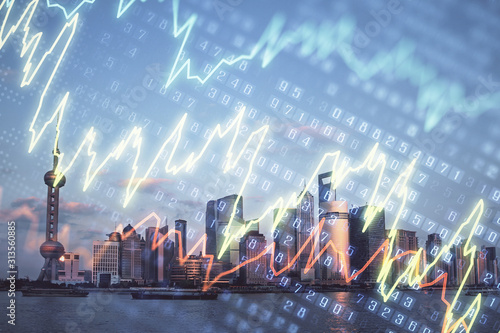 Forex graph on city view with skyscrapers background double exposure Wallpaper Mural