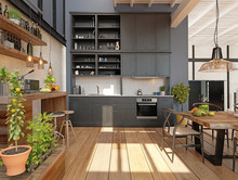 Modern Domestic Kitchen Interi...