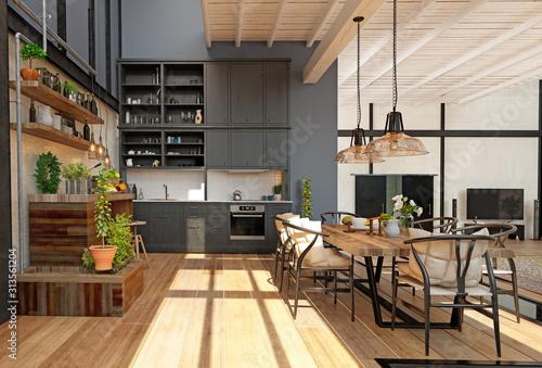 Fototapeta modern domestic kitchen interior. obraz