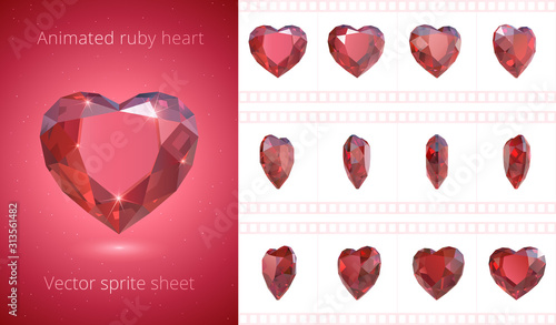 Vector frames of rotating red heart Canvas Print