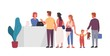 Queue at reception flat vector illustration. People waiting in line at front desk cartoon characters. Airport terminal, hotel registration table design element. Friendly receptionist helping clients.