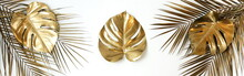 Gold Palm And Monstera Leaves ...