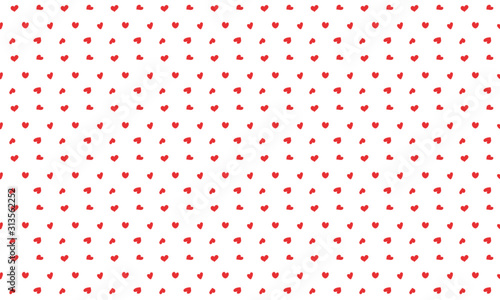 obraz lub plakat 手書きのハートのシームレスパターン柄