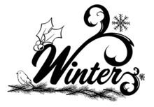 Winter Word Art Black And White