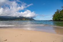 Tropical Hanalei Beach On Kauai Island, Hawaii