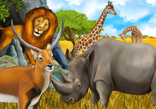 Cartoon Safari Scene With Lion...