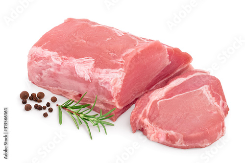 Stampa su Tela Raw pork meat with rosemary and peppercorn isolated on white background