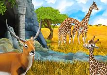 Cartoon Safari Scene With Gira...