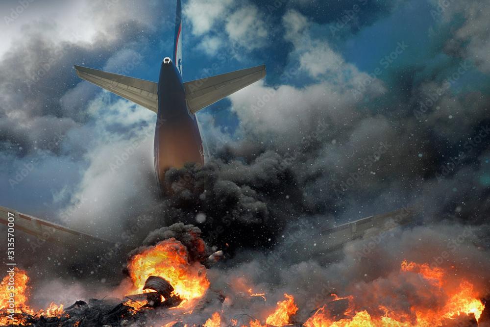 Fototapeta Plane crash, plane on fire and smoke. Fear of Air Travel Concept