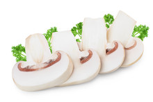 Slices Of Fresh Mushroom Champignon Isolated On White Background With Clipping Path