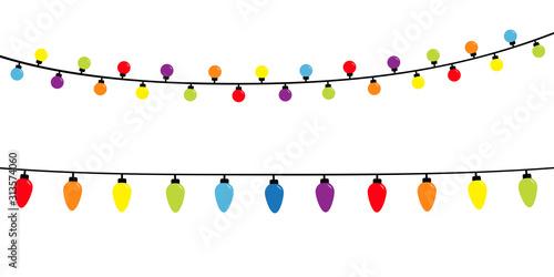 Fototapeta Christmas lights. Holiday festive xmas decoration. Lightbulb glowing garland. Colorful string fairy light set. Rainbow color. Flat design. White background. Isolated. obraz na płótnie