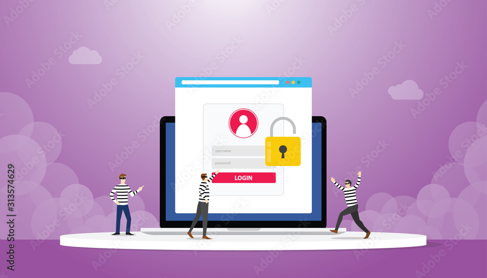 Fototapeta stealing information data login password phishing with thief team with modern flat style - vector