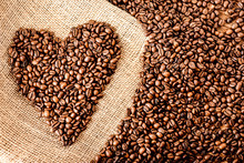 Roasted Coffee Beans In Heart ...