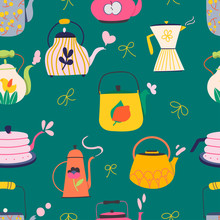 Set Of Various Kettles. Hand Drawn Colored Trendy Vector Seamless Pattern On The Green Background. Eps 10.