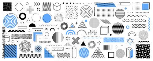 Fototapeta Set of 100 geometric shapes. Memphis design, retro elements for web, vintage, advertisement, commercial banner, poster, leaflet, billboard, sale. Collection trendy halftone vector geometric shapes. obraz