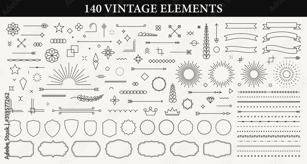 Fototapeta Set of 140 Vintage line elements. Retro design elements. Ornaments and Frames. Drawing geometrics line. Decoration, banners, posters, emblems, labels. Vector illustration.