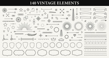 Set Of 140 Vintage Line Elements. Retro Design Elements. Ornaments And Frames. Drawing Geometrics Line. Decoration, Banners, Posters, Emblems, Labels. Vector Illustration.
