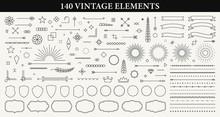 Set Of 140 Vintage Line Elemen...