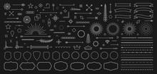 Set Of 140 Vintage Line Elements. Retro Design Elements. Ornaments And Frames. Drawing Geometrics Line. Decoration, Banners, Posters, Emblems, Labels. Vector Illustration.