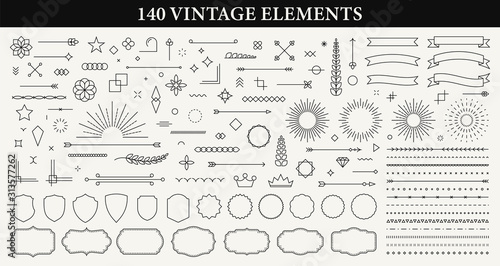 Obraz Set of 140 Vintage line elements. Retro design elements. Ornaments and Frames. Drawing geometrics line. Decoration, banners, posters, emblems, labels. Vector illustration. - fototapety do salonu