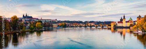 Autumn view to Charles bridge on Vltava river in Prague, Czech Republic Wallpaper Mural