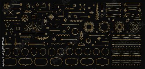 Photo Set of 140 Gold Vintage line elements