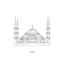 Travel Illustration With Attraction Of Turkey