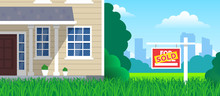 House For Sale Sold Sign On Lawn Grass  Real Estate Investment Concept