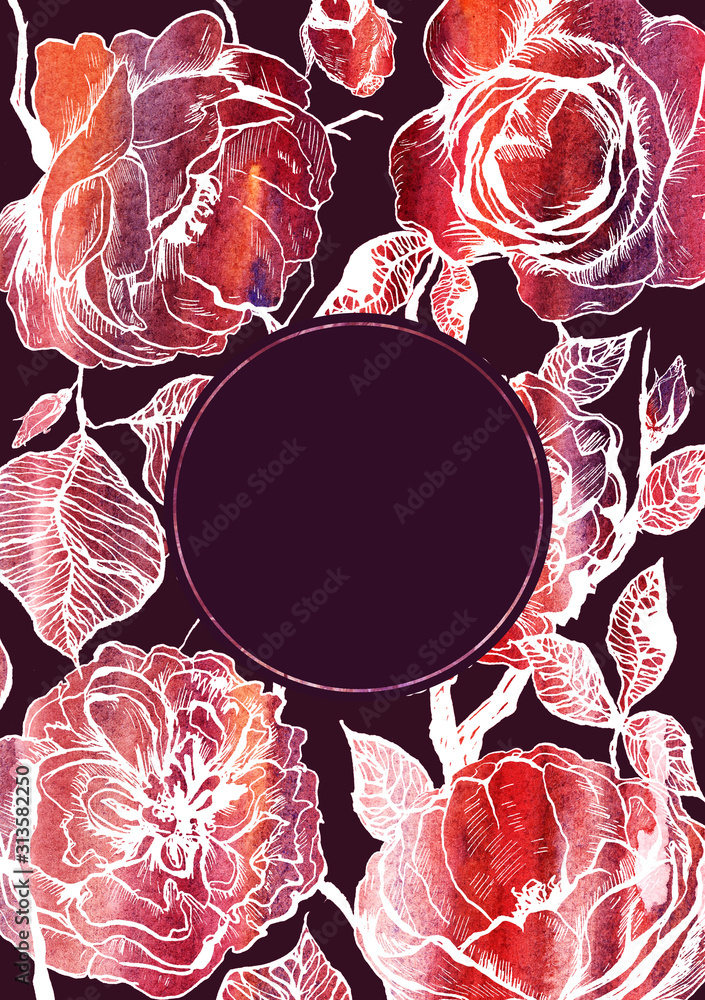 Hand drawn floral rose vertical rectangular template with round frame