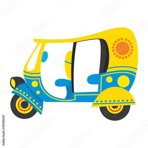 Auto Rickshaw, Eco friendly and indian Traditional Theme Illustration Tapéta, Fotótapéta