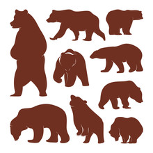 Collection Of Silhouette Bears...