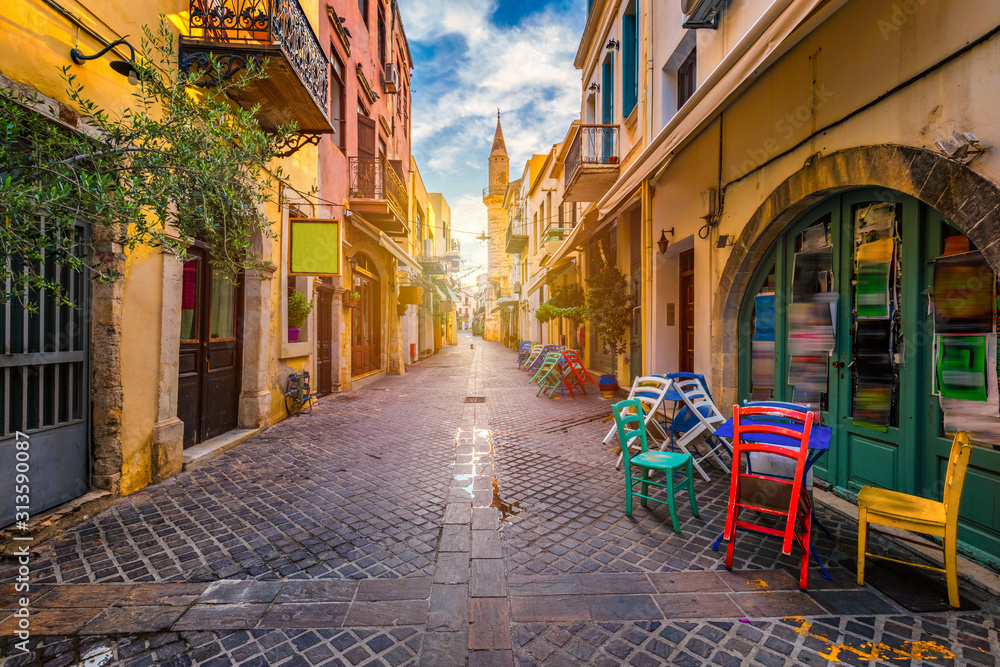 Charming streets of Greek islands, Crete. Street in the old town of Chania, Crete, Greece. Beautiful street in Chania, Crete island, Greece. Summer landscape. Travel and vacation.